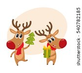 two deer holding a christmas... | Shutterstock .eps vector #540782185