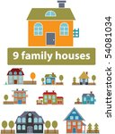 9 premium family houses. vector | Shutterstock .eps vector #54081034