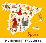 spain map vector. illustrated... | Shutterstock .eps vector #540818551