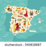 spain map vector. illustrated... | Shutterstock .eps vector #540818887