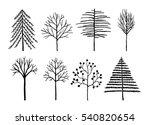 winter trees vector set. | Shutterstock .eps vector #540820654
