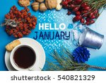hello january composition of... | Shutterstock . vector #540821329
