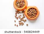 Stock photo dry pet food in bowl on white background top view 540824449