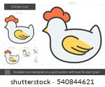 Chicken Vector Line Icon...