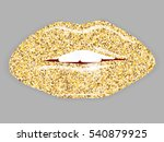 open mouth with gold lips.... | Shutterstock .eps vector #540879925
