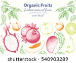 fruits top view frame with... | Shutterstock .eps vector #540903289