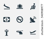 set of 9 simple airport icons.... | Shutterstock .eps vector #540908977