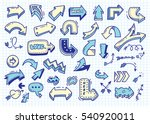 set of arrow doodle on paper... | Shutterstock .eps vector #540920011