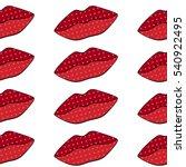 seamless pattern. red lips.... | Shutterstock .eps vector #540922495