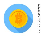 flat icon bitcoin. gold coin... | Shutterstock .eps vector #540927271
