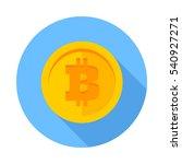 flat icon bitcoin. gold coin... | Shutterstock .eps vector #540927271