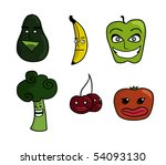 illustrations of cartoon fruits ... | Shutterstock . vector #54093130
