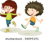 illustration of a girl and boy... | Shutterstock .eps vector #54095191