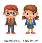 realistic school boy girl child ... | Shutterstock .eps vector #540959329