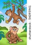Two Cartoon Monkeys   Color...