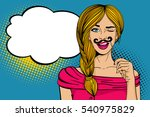 pop art face. young sexy blonde ... | Shutterstock .eps vector #540975829