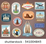 Collection of vector illustrations of international landmarks and famous national symbols from countries all over the world presented as stickers or labels | Shutterstock vector #541004845