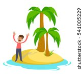 people on a desert island. the... | Shutterstock . vector #541005229