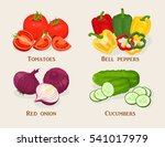 set of vegetables. tomatoes ... | Shutterstock .eps vector #541017979