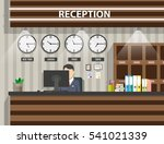 interior of wooden reception... | Shutterstock .eps vector #541021339