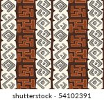 African seamless pattern in native grungy style - stock vector