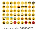 emoji set. face expressions... | Shutterstock .eps vector #541036525