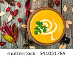cream soup with vegetables | Shutterstock . vector #541051789