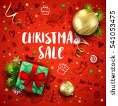 christmas sale template with... | Shutterstock .eps vector #541053475
