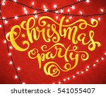 christmas party poster with... | Shutterstock . vector #541055407