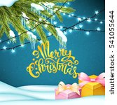 merry christmas card with... | Shutterstock . vector #541055644