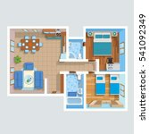 top view flat interior plan... | Shutterstock .eps vector #541092349