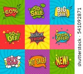 discount comic labels set with... | Shutterstock .eps vector #541092871