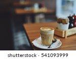 coffee latte art on the wooden... | Shutterstock . vector #541093999