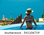 young slender woman in pool...   Shutterstock . vector #541106719