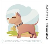 dog walks in the park. cartoon... | Shutterstock .eps vector #541119349