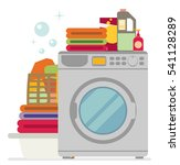 washing machine with basket of... | Shutterstock .eps vector #541128289