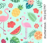 tropical pattern. palm leaves ... | Shutterstock .eps vector #541142797