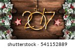 2017 new year  frame with green ... | Shutterstock . vector #541152889