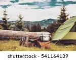 cooking breakfast on a campfire ... | Shutterstock . vector #541164139