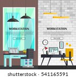 set of colorful interior with... | Shutterstock .eps vector #541165591
