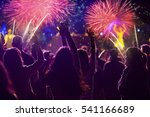 cheering crowd and fireworks   ... | Shutterstock . vector #541166689