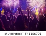 cheering crowd and fireworks   ... | Shutterstock . vector #541166701
