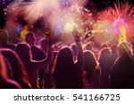 cheering crowd and fireworks   ... | Shutterstock . vector #541166725