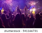 cheering crowd and fireworks   ... | Shutterstock . vector #541166731