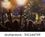 cheering crowd and fireworks   ... | Shutterstock . vector #541166749