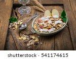 healthy bowl of muesli  apple ... | Shutterstock . vector #541174615