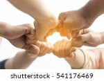 circle of hands together with... | Shutterstock . vector #541176469