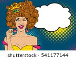 pop art face. young sexy ginger ... | Shutterstock .eps vector #541177144