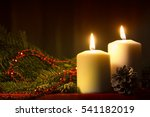 burning candle and christmas...   Shutterstock . vector #541182019