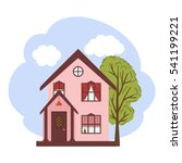 Small House And Tree. Vector...